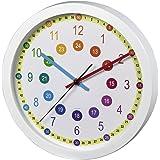 Hama Kinderwanduhr Zum Lernen der Zeit (Ohne Ticken Easy Learning, Lernziffernblatt mit Ø 30 cm, geräuscharme, analoge Wanduhr für Kinder, Lernuhr, Kinderuhr) weiß