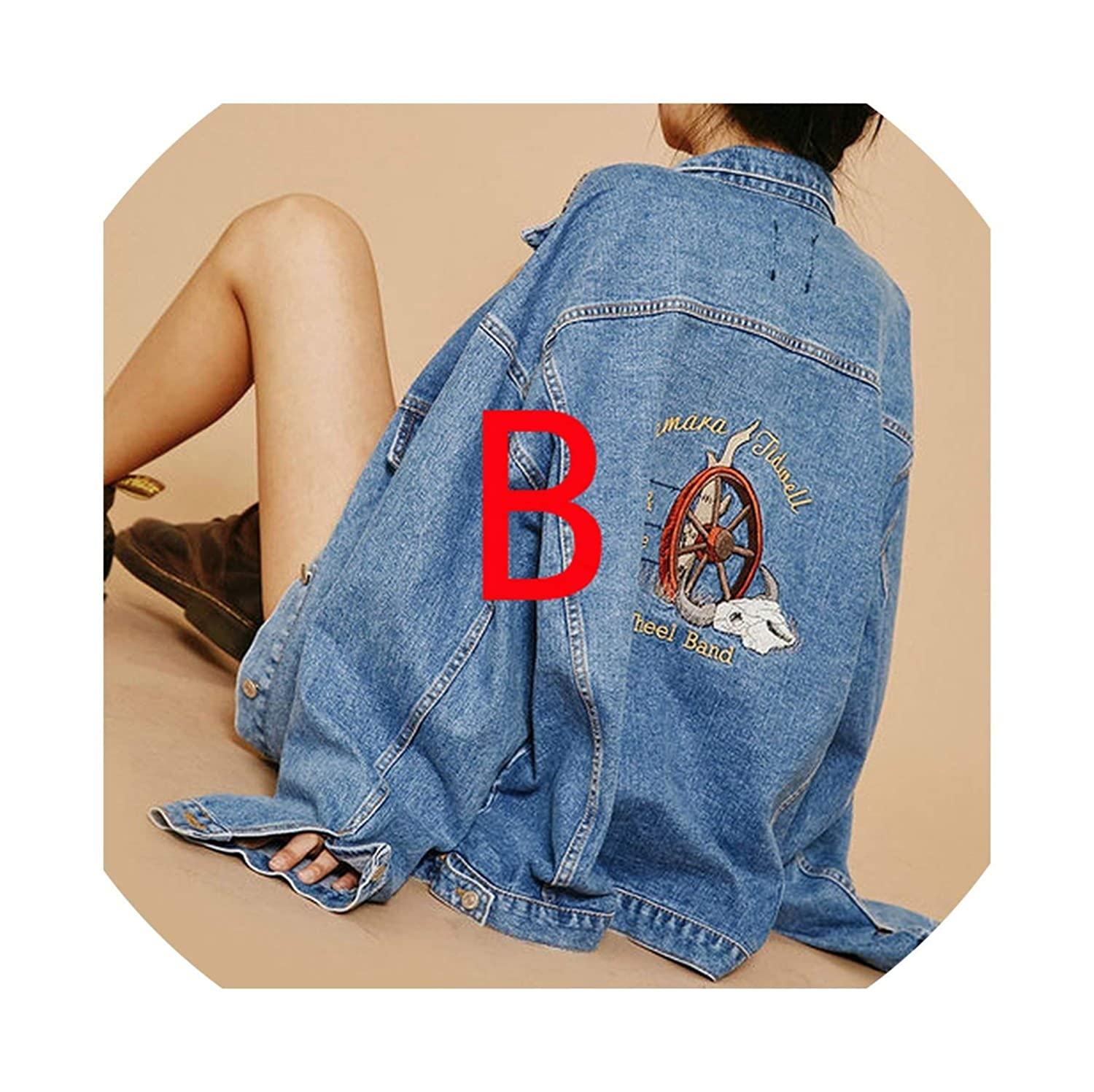 40780 Reverse Flower contentment Jeans Coats Loose Casual Style Denim Jackets