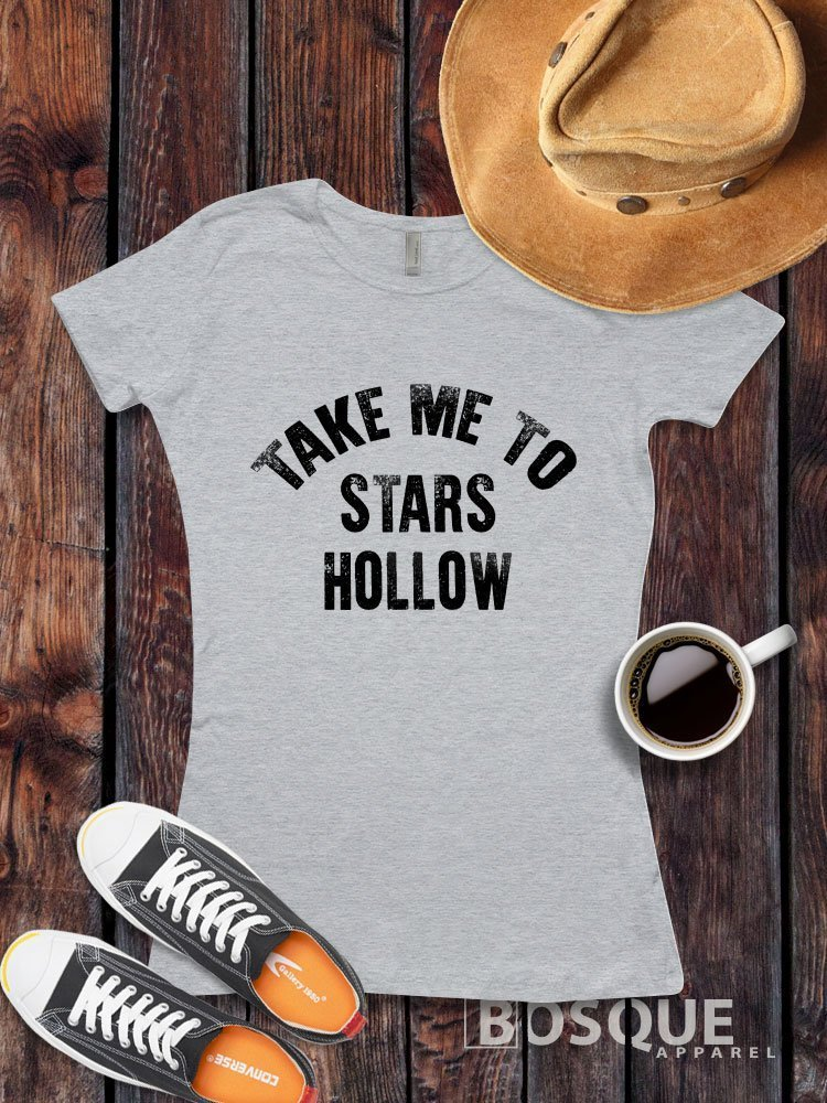 Gilmore Girls inspired T-Shirt / Adult T-shirt Top Tee Shirt design Take Me To Stars Hollow Shirt - Ink Printed