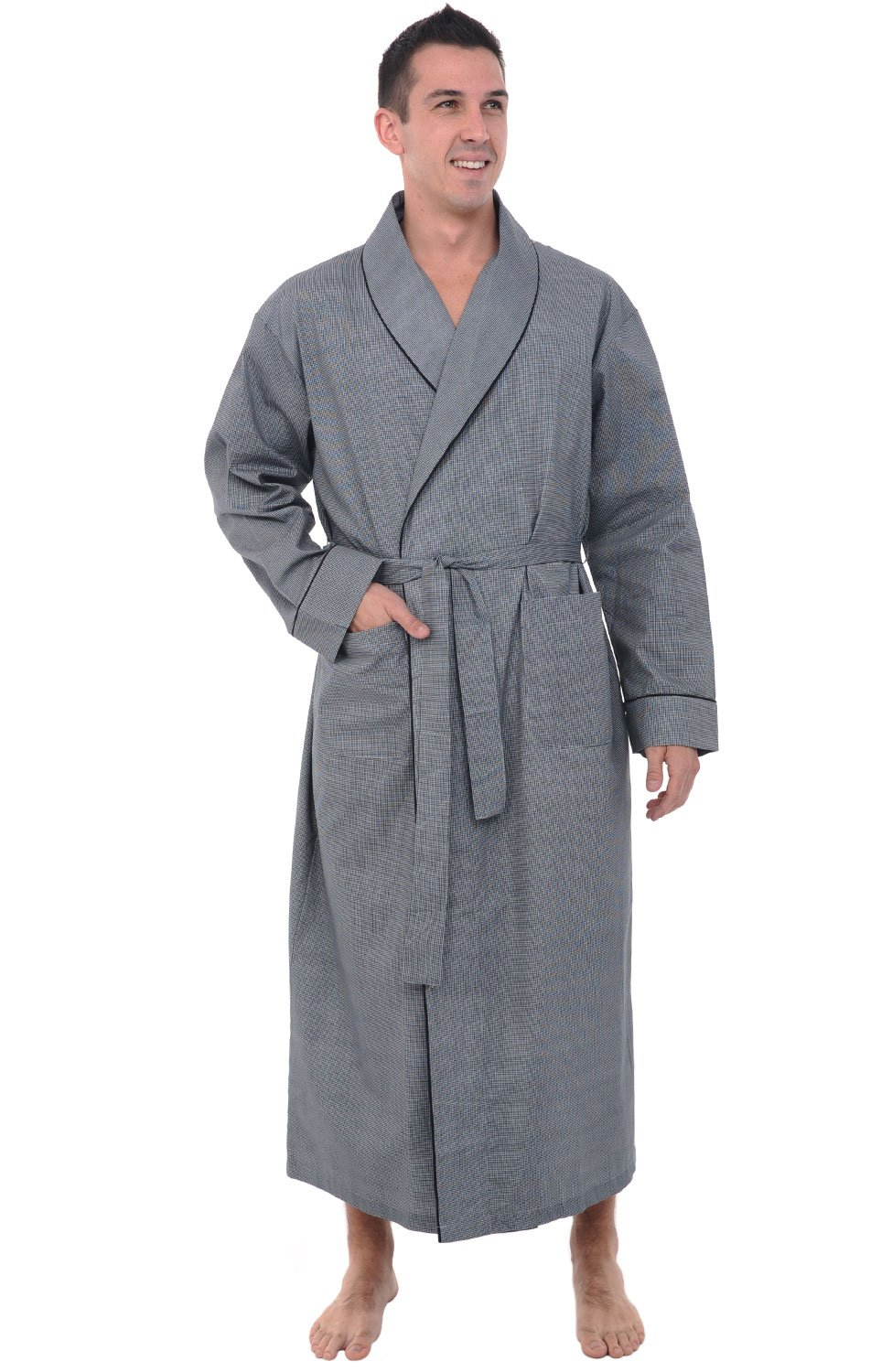 Alexander Del Rossa Mens Cotton Robe, Lightweight Woven Bathrobe, XL Black Houndstooth Check (A0715R60XL)