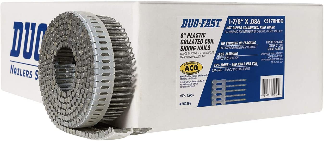 "6 Coils Of Duo-fast Round Head 1 7//8/"" X .0915/"" Coated Ring Shank Nails-1800 tot"