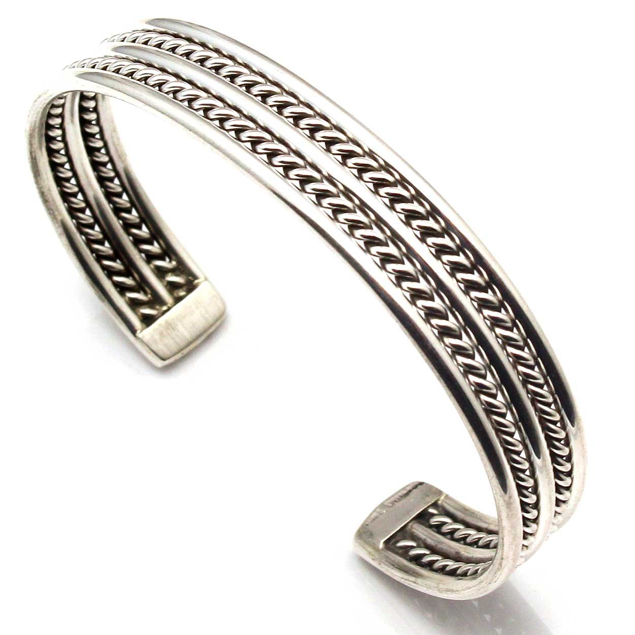 Handcrafted Navajo Sterling Silver Twist Wire Bracelet by E. Tahe