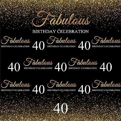 Cassisy 1,8x1,8m Vinilo Cumpleaños Telon de Fondo 40 cumpleaños Fabuloso Banner de celebración Lentejuelas de Oro Fondos para Fotografia Party bebé ...