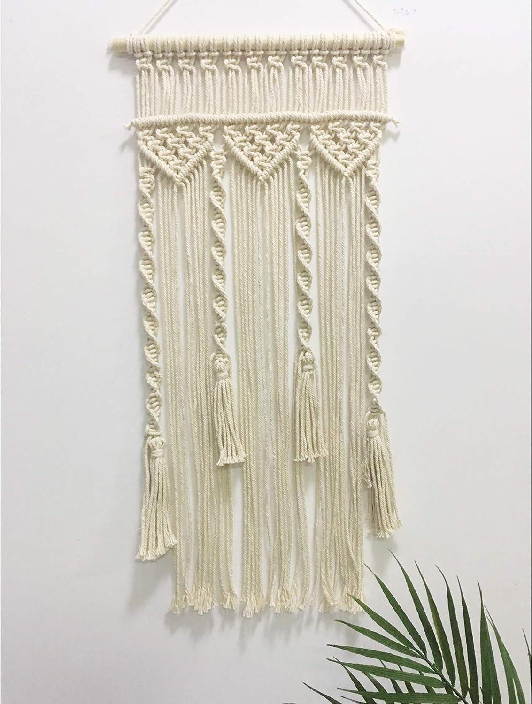 Winterdemoon Handmade Cotton Home Decor Macrame Wall Hanging Beige