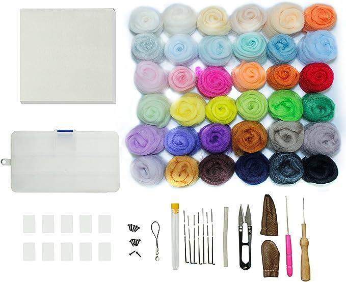 Kit de fieltro de agujas de manualidades, 36 colores de lana de ...