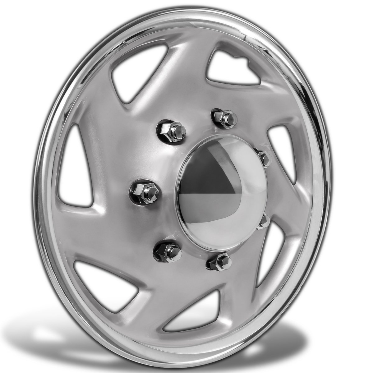 Amazon com hubcaps for select trucks cargo vans pack of 4 wheel covers 16 inch 7 spoke snap on silver chrome automotive