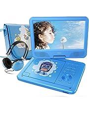 """FUNAVO 10.5"""" Lettore DVD Portatile, Schermo Girevole, Batteria Ricaricabile Da 5 Ore, Cuffie E Borsa Corrispondenti, Supporti SD, Porta USB, Formati Di Riproduzione Diretta AVI / RMVB / MP3 / JPEG"""