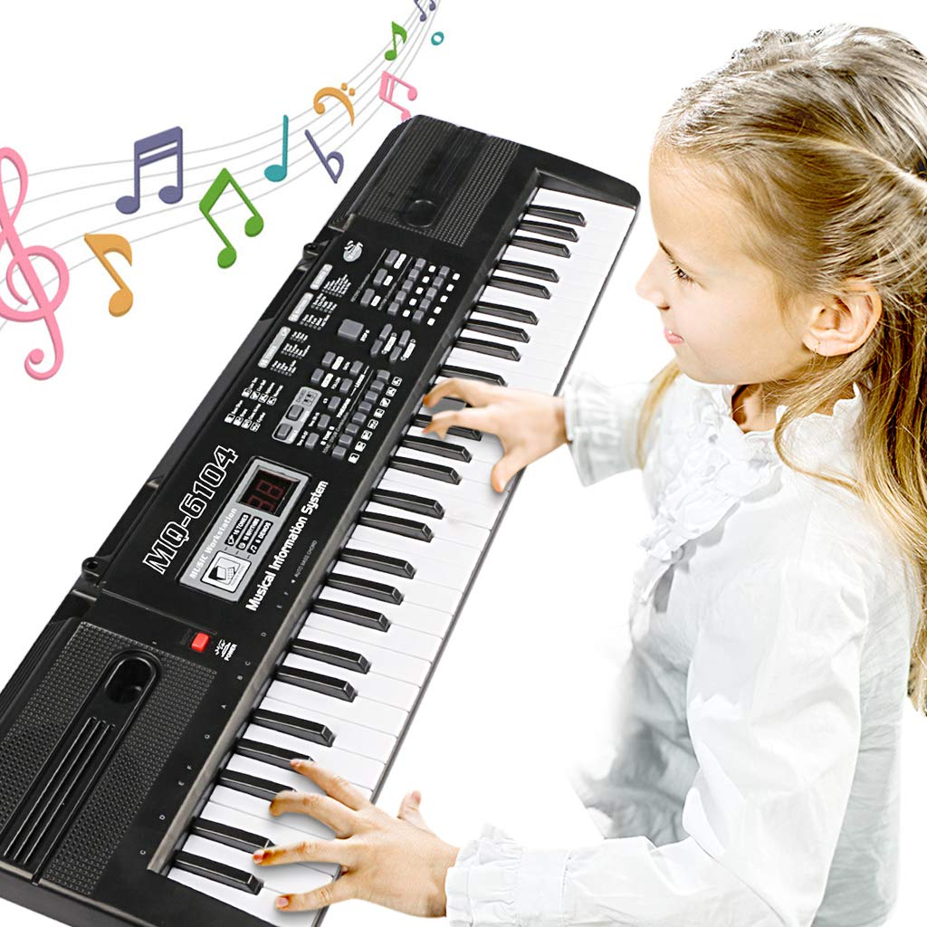 Digital Music Piano Keyboard 61 Key - Portable Electronic Musical Instrument Multi-function Keyboard and Microphone for Kids Piano Music Teaching Toys Birthday Christmas Day Gifts for Kids by Tencoz