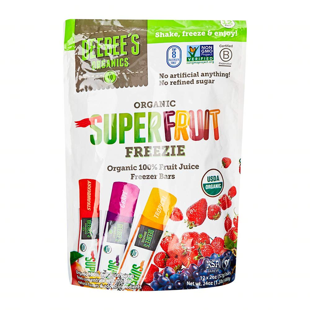 Deebees, Freezer Bars Superfruit Organic 12 Count, 24 Ounce