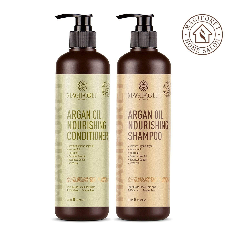 L'Huile D'ARGAN Shampooing et revitalisant Ensemble (2 x 479,1 gram) - Magiforet Bio Shampoing et après-shampoing Sans sulfate - doux et lisses, doux pour les cheveux bouclés et colorés, pour homme et femme