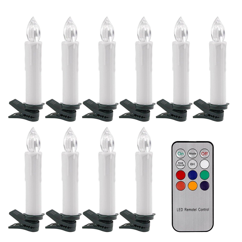 Sunsbell キャンドル型LEDティーライト 電池式 揺らめく光 – 10個入り RGB電気キャンドル 12キーのリモコン付 SSB-GHKGHJ B01MZZVA5H 16972 RGB -1 Pack RGB 1 Pack
