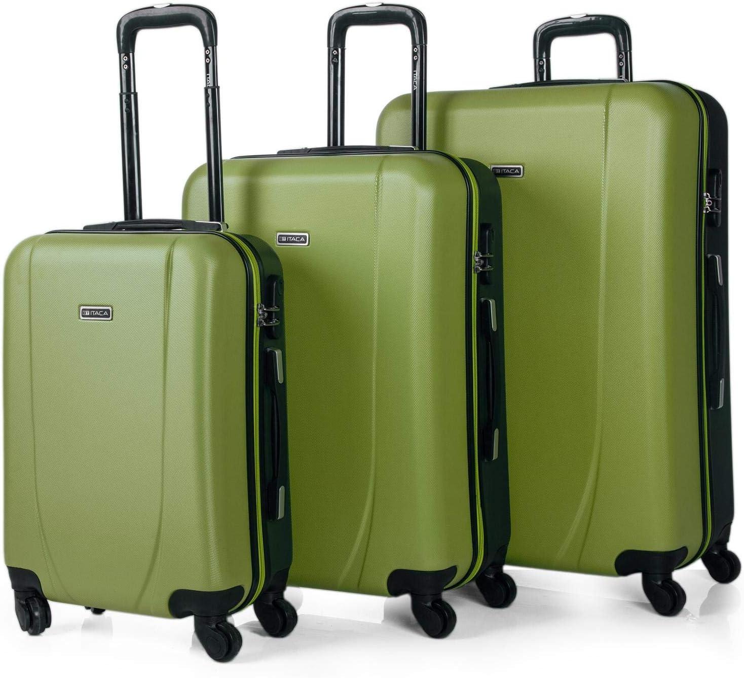ITACA - Juego de Maletas de Viaje Rígidas 4 Ruedas Trolley 55/65/75 cm ABS. Buenas Cómodas y Ligeras. Candado. Grande Mediana y Pequeña Cabina Ryanair. 7110, Color Pistacho-Antracita