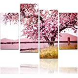 """Live Art - Plum Tree Blossom Art,Spring Flowers Canvas Print for Home Wall Decor,Framed,4 Panels Cherry Blossom Wall Art, - 48""""W x 32""""H overall"""