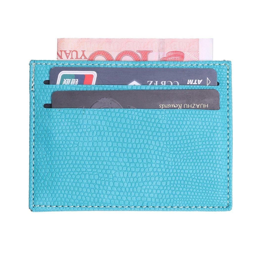 Exing Titulaire de la carte de crédit, pince à billets, porte monnaie en cuir mince, carte d'identité de la carte bancaire (bleu) pince à billets carte d'identité de la carte bancaire (bleu)