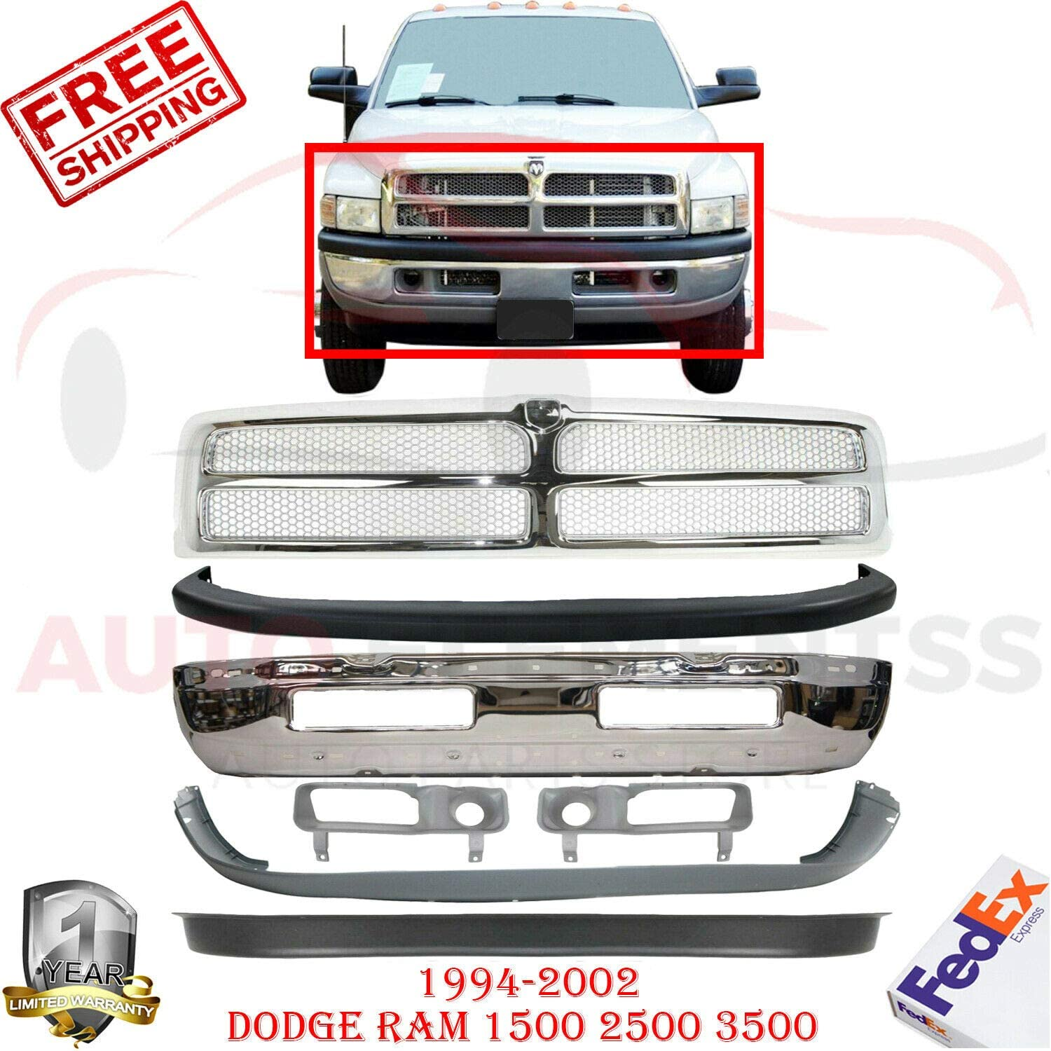 Upper Filler New Front Bumper Cover Textured Plastic Lower Valance For 1994-2002 Dodge Ram 1500 2500 3500 Direct Replacement 55076614AC 55076610AB 55274811 Lower Cover