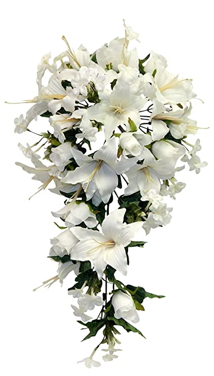 Amazon Wedding Flowers 23 Rose Lily Cascading Bridal Bouquet