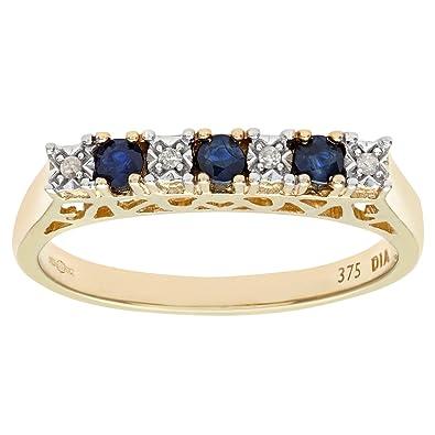 Naava Women's 9 ct Yellow Gold Diamond and Sapphire Ring F0Cg5
