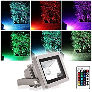 BLINNGO Outdoor LED Flood Light, 10W Waterproof Security Lights with US 3-Plug for Garden, Scenic Spot, Hotel (RGB)