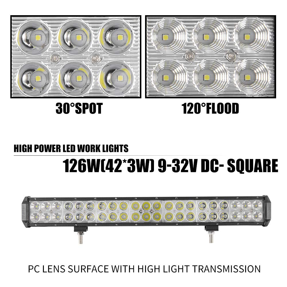 FieryRed 12Inch 120W 12000LM CREE LED Light Bar Spot Flood Combo Work Light Waterproof Truck Offroad 4WD SUV ATV Driving Lamp 1 Year Warranty