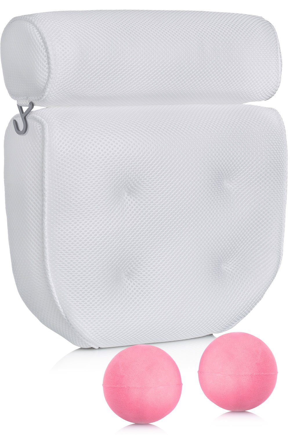 Dr. Maya Spa Bath Pillow + 2 Bonus Bath Bombs SET - 14'' x 13'', 4'' Thick – Home Jacuzzi Hot Tub – Luxury Mesh Cushion – Non Slip Large Suction Cups - for Back, Neck and Head Support in the Bathtub