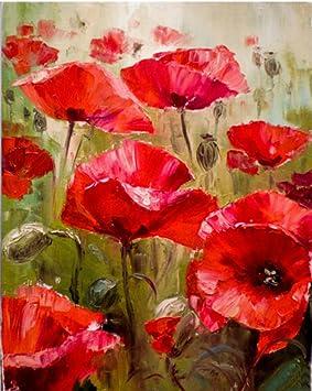 Cuadro De Pintura Al Oleo Pintado A Mano Con Flores Rojas Y