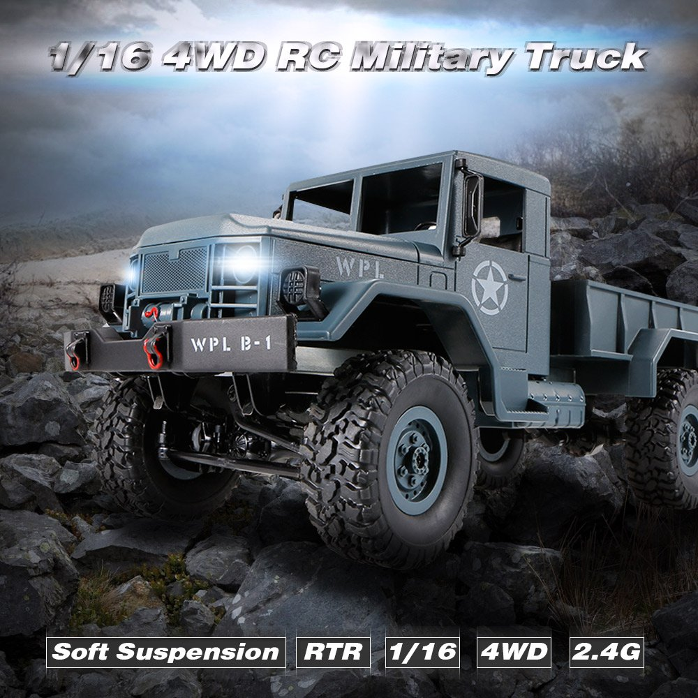 Goolsky WPL B-1 1/16 2.4G 4WD Off-Road RC Militar Truck Rock Crawler ...