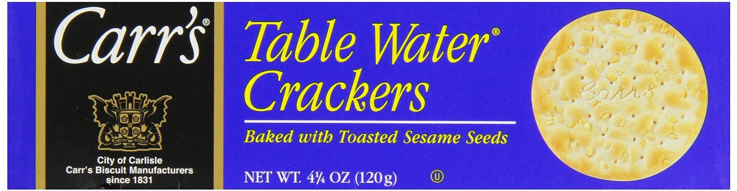 Carrs Table Water Cracker with Toasted Sesame Seed, 4.25 Ounce -- 12 per case.