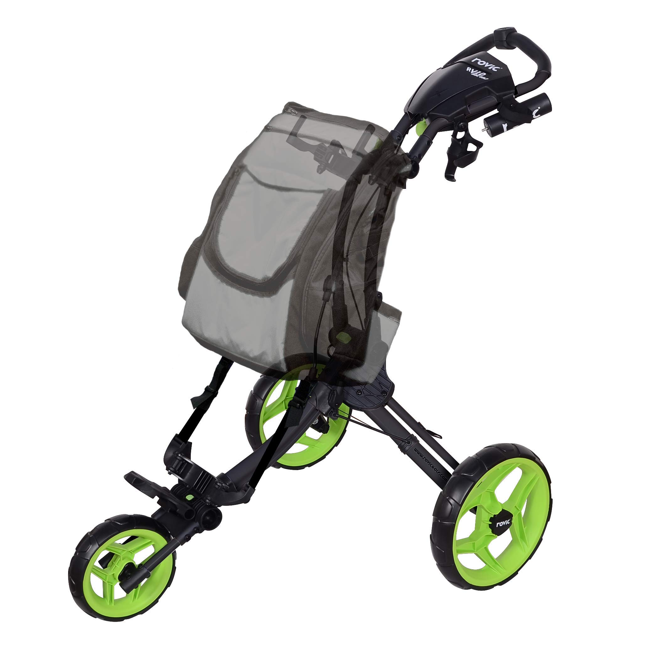 Rovic RV1D 3-Wheel Disc Golf Push Cart | Fits All Disc Golf Backpacks (Charcoal/Lime)
