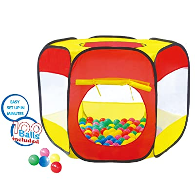 POCO DIVO 100-Ball Pit Play Tent Popup Hexagon Mesh Playpen Toddler Birthday Gift, Kids Holiday Present for 1 2 3 4 5 Year Old Boys Girls: Toys & Games