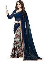 Indian E Fashion Women's Net Saree With Blouse Piece (Aishaneavyblue-Sarees For Women_Navyblue)