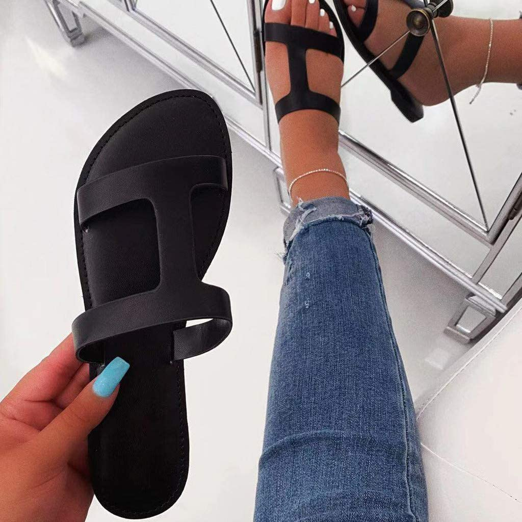 ZOMUSAR Summer Womens Sandals Roman Flat Slippers Round Toe Casual Simple Shoes Beach Sandals