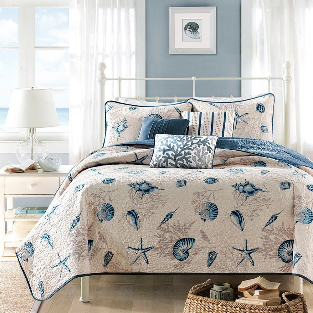 Vintage Blue Patchwork Quilt Set Queen 100% Cotton Ocean Themed Quilt Coverlet Set 3 Piece Full Shell Starfish Print Bedspread Set for Kids Adults Luxury Boys Girls Quilt Bed Set Queen, Style5