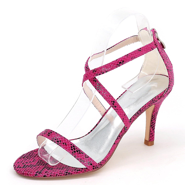 violet Eleboeb Femmes Chaussures de Mariage PU Plate-Forme Talon Stiletto Dentelle Peep Toe Sandales Les Les dames   9cm Talon