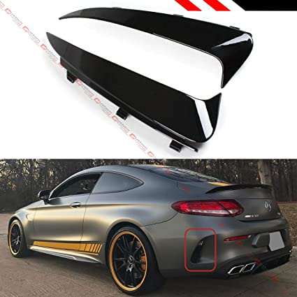 FITS FOR 2017-2019 MERCEDES BENZ W205 C43 C63 AMG 2DR COUPE GLOSS BLACK  REAR BUMPER SIDE VENT INSERT CANARDS