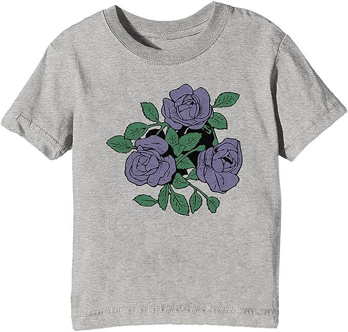 Rosas moradas Niños Unisexo Niño Niña Camiseta Cuello Redondo Gris Manga Corta Tamaño XL Kids Unisex Boys Girls T-Shirt Grey X-Large Size XL: Amazon.es: Ropa y accesorios