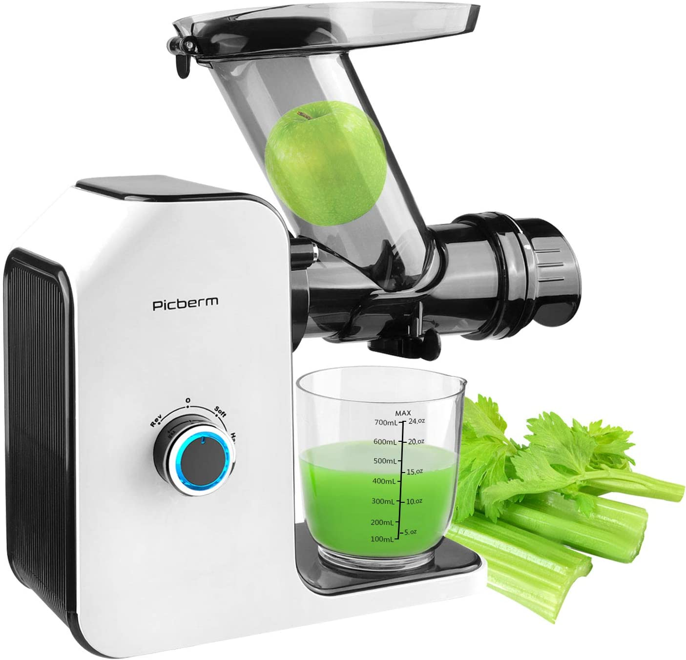 Wide Chute Masticating Juicer Picberm Cold Press Juicer Extractor, Juicer Machines for Higher Nutrient Fruit and Vegetable Juice, Quiet Motor & BPA-FREE, Easy to Clean & BPA Free White