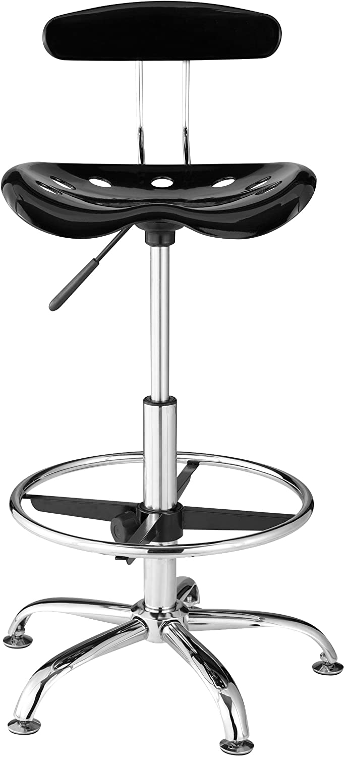 OneSpace Drafting Stool with Tractor Seat, Black