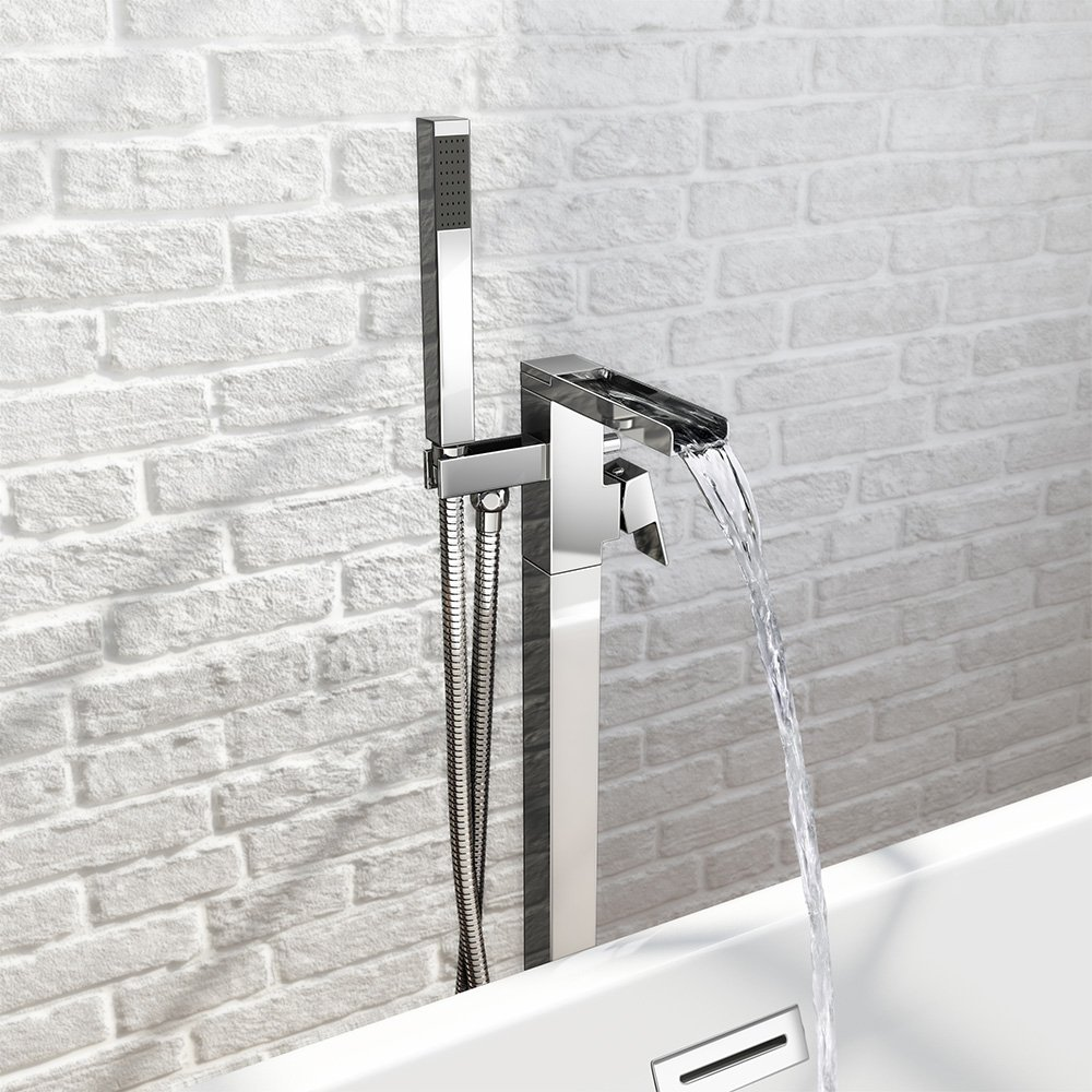 Waterfall Freestanding Bath Filler Mixer Tap + Modern Chrome Hand ...
