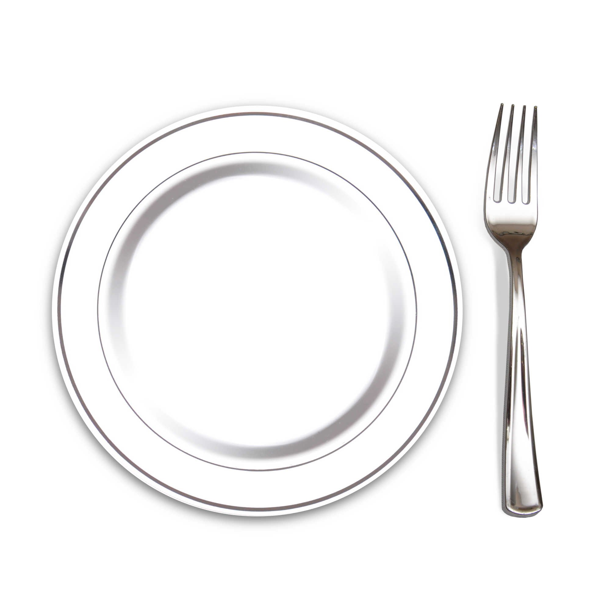 """100 Heavyweight Elegant Plastic Disposable 7.5"""" Small Plates & 100 Silver Plastic Forks, Perfect for Salads, Desserts, Tapas, Appetizers, Hors d' oeuvres, Parties, Catering, Wedding Cakes by Precisely Plastic"""