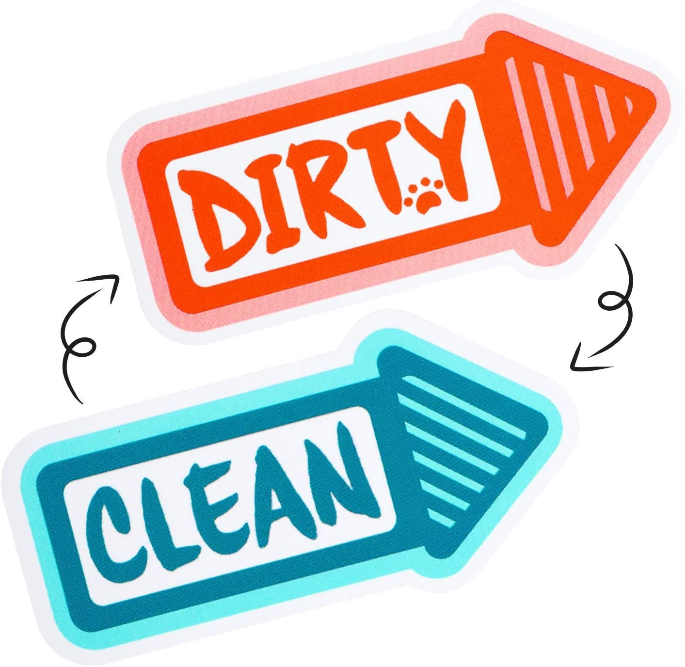 Dishwasher Magnet Clean Dirty Sign,Rareccy Original Design Strongest Magnet Double Sided Flip Dishwasher Sign with Bonus Metal Magnetic Plate Reversible Indicator Dishwasher Magnet for All Dishwasher