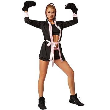 dressforfun Disfraz para mujer Boxeadora | Disfraz de boxeador con pantalón corto, top, abrigo con capucha, cinturón y guantes de boxeo (S | rosa | ...