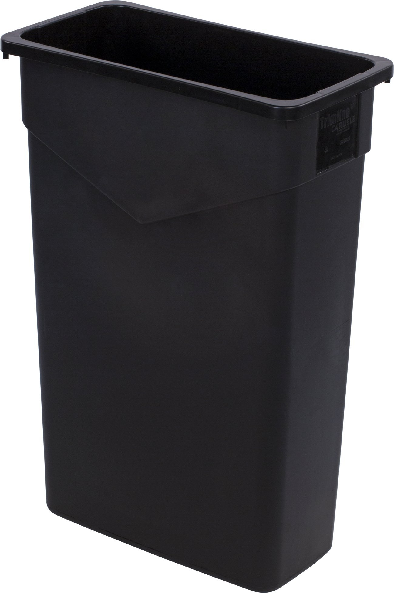 Carlisle 34202303 TrimLine Rectangle Waste Container Trash Can Only, 23 Gallon, Black