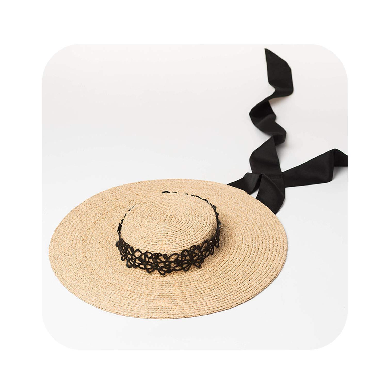 001 Black Black Ladies Wide Brim Hats Hats Women Summer Beach Sun Hat,