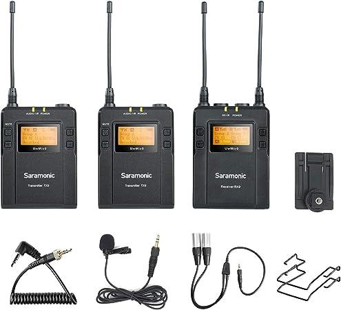 Saramonic UwMic9 Sistema de micrófonos lavalier inalámbrico UHF omnidireccional de 96 canales Dos transmisores y un receptor para cámaras Sony DSLR ...