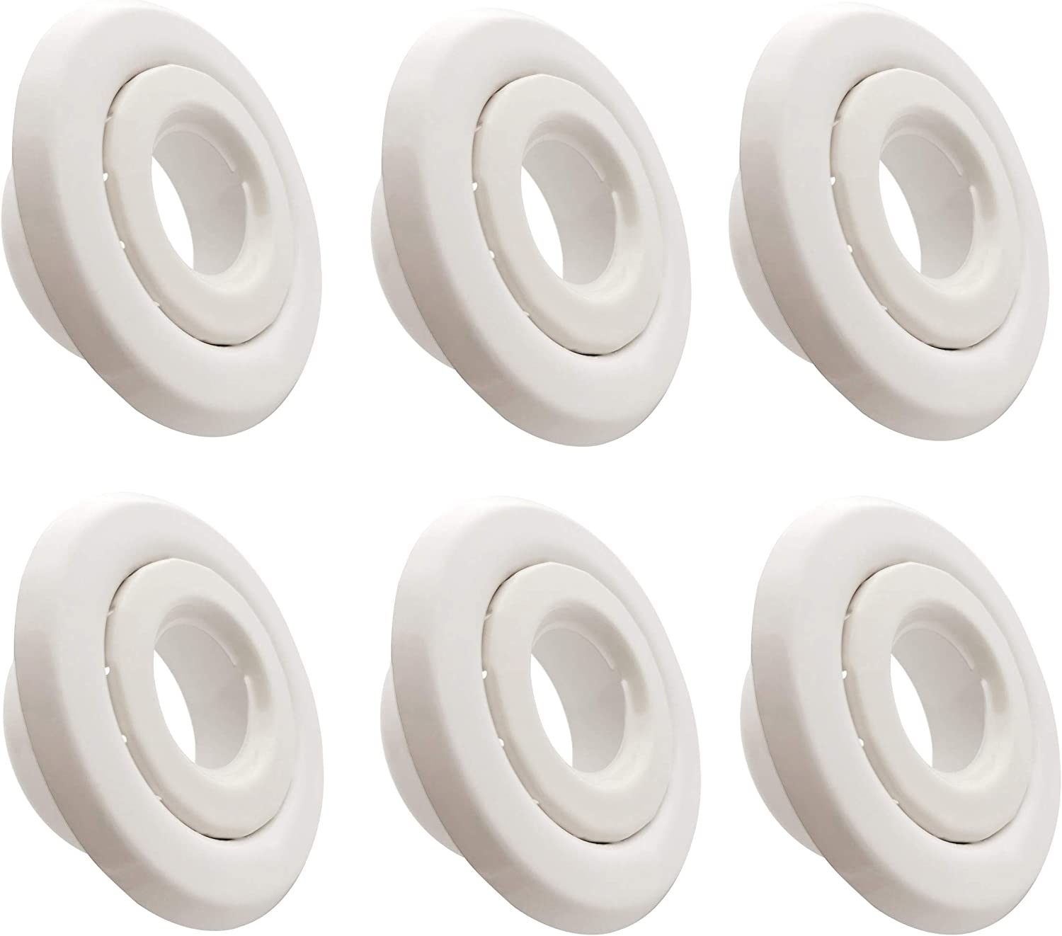 """Happy Tree (6 Pack) 3/4 """" IPS Fire Sprinkler Head Escutcheon Plate Standard Cover Two Piece Rosette Whit"""