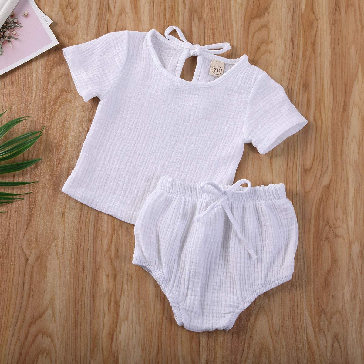 Baby Bloomers Infant Shorts Soft Breathable Cotton Linen Short Pants for Unisex Boy Girl 90-Blue