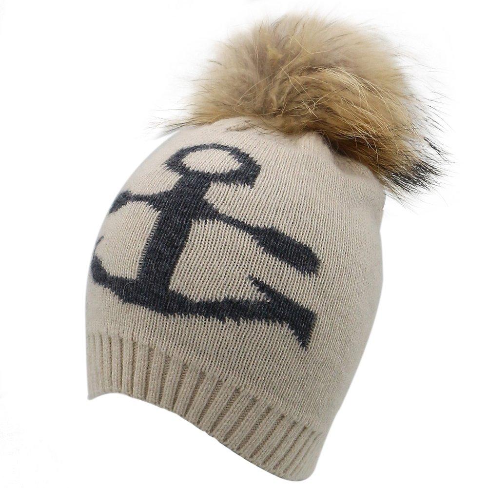 81de7c107fe Hiloving Womens Girls Winter Wool Hat Large Raccoon Fur Pom Pom Knit Beanie  Hats (Apricot) at Amazon Women s Clothing store