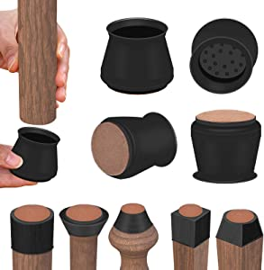 Chair Protectors for Wooden Floors, Felt Bottom Silicone Furniture Foot Protector Pads, Free Moving Prevent Floor Scratches and Reduce Noise 4 Pcs (Medium, Black)