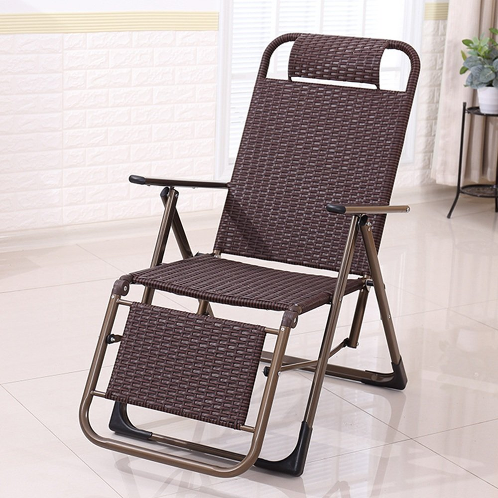 D GWDJ Lounger Deck Chairs Handmade Casual Folding Wicker Chair Office Simple Lunch Break Recliner Outdoor Portable Old Man Backrest Chair Practical Beach Chair Relaxer Recliner (color   B)