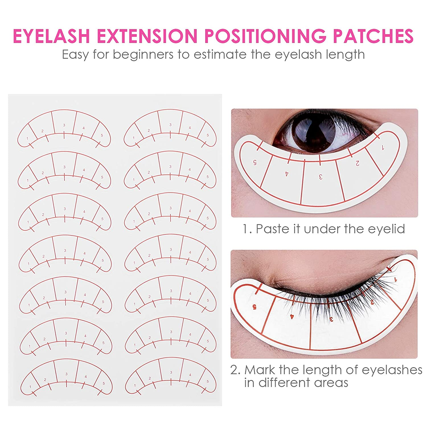 Eyelash Extension Paper Patches 3D Eyelash Under Eye Pads 5-point Positioning Paper Tips Sticker 10 Sheets